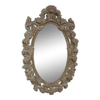 Wood Framed Oval Wall Mirror For Sale