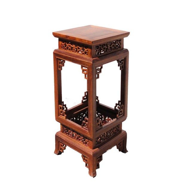 Chinese Yellow Rosewood Square Carving Plant Stand Pedestal Table - Image 4 of 5