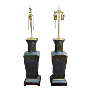 Pair of Mixed Metal Table Lamps For Sale
