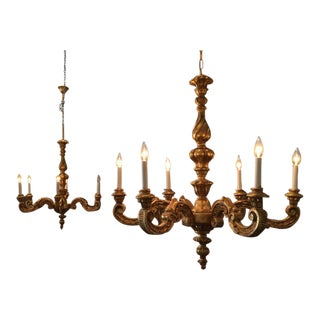 Hand-Carved Six-Light Gold Gilt Chandeliers - A Pair For Sale