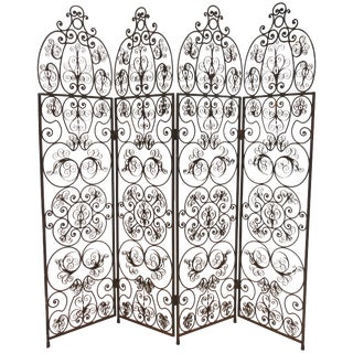 1960s Iron Scrolled Folding Screen For Sale
