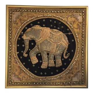 Burmese Kalaga Tapestry of an Elephant For Sale