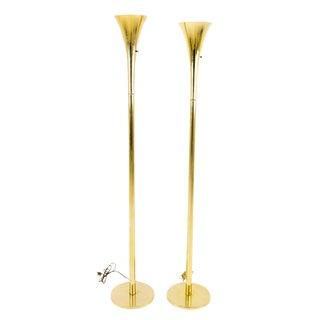 Vintage Mid Century Laurel Torchiere Floor Lamps- a Pair For Sale