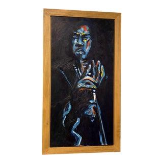 "Original ""Jazz Trumpeter"" Framed Oil Painting by Lani Mustad Stringer For Sale"
