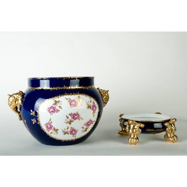 Vintage Pair Limoges France porcelain Jardiniere / cache pot with base. Excellent condition. The jardiniere / cache pot...