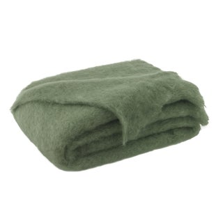 Olive Brushed Mohair Throw