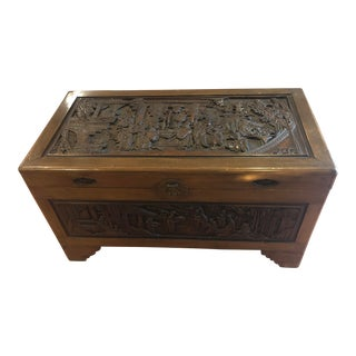 1940's George Zee Carved Wood Chest Trunk For Sale