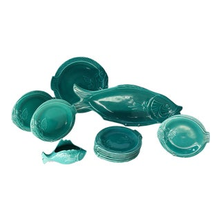 Set of Teal Fish-Shape Ceramic Dishes For Sale