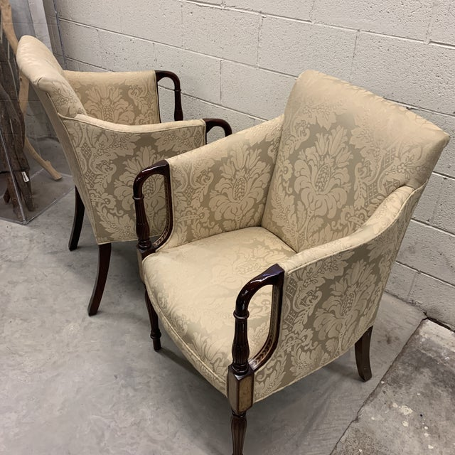 Southwood Sheraton Style Inlaid Mahogany Club Chairs For Sale - Image 10 of 12