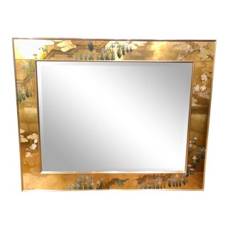 Labarge (Usa) Reverse Painted and Gilt Decorated Mirror Signed by C. Adams 1987 For Sale