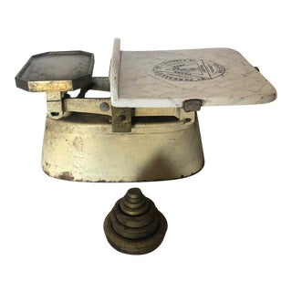 Antique Scale With Marble Tray and Iron Weights For Sale