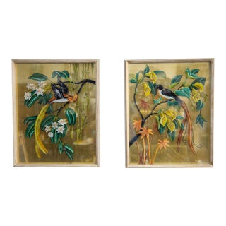 Vintage Mid-Century Reverse Bird Botanic Paintings - A Pair For Sale
