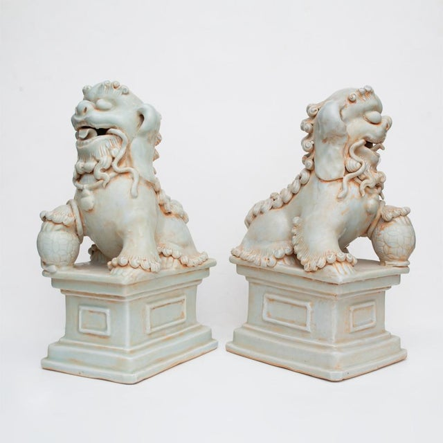 Asian 20th Century Large Chinese Celadon Foo Lions - a Pair For Sale - Image 3 of 13