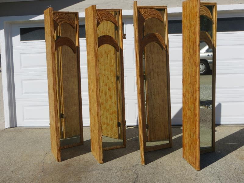 Figural Bamboo Hinged Room Dividers 8 Panels 4 Sets of 2 Chairish