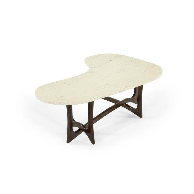 Adrian Pearsall 1950s Asymmetric Marble-Top Coffee Table by Adrian Pearsall For Sale - Image 4 of 10