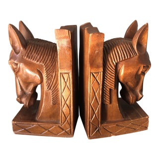 Wooden Horse Bookends - A Pair For Sale