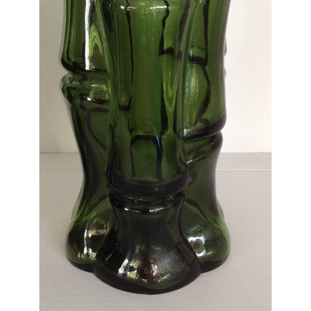 Vintage Faux Bamboo Green Glass Vases - A Pair - Image 4 of 5