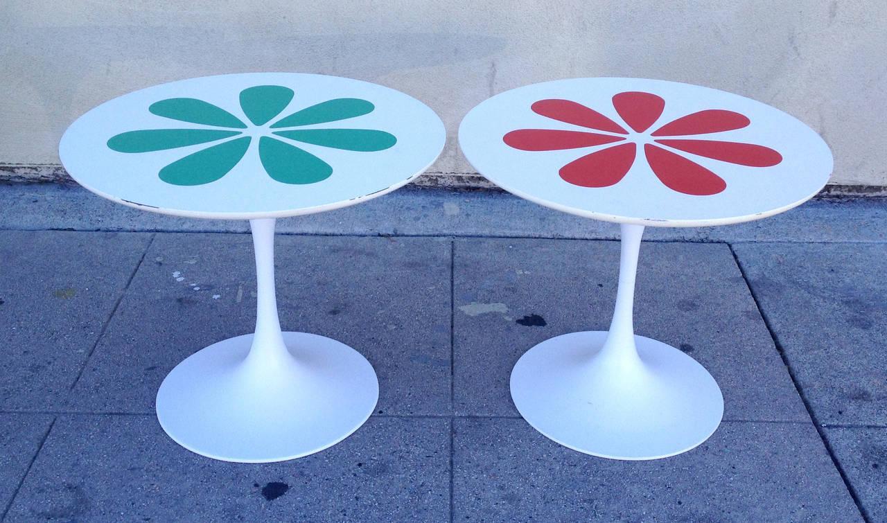 This Set Of Burke Tulip Tables Inspired By Eero Saarinen Features A Retro  Flower Motif In