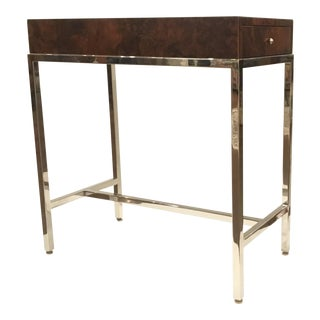Universal Furniture Mid-Century Modern Style Burl Wood and Chrome Accent Table For Sale