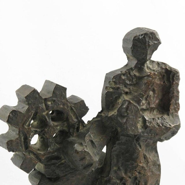 Mid 20th Century Mid-Century Modernist Brutalist Bronze Sculpture For Sale - Image 5 of 11