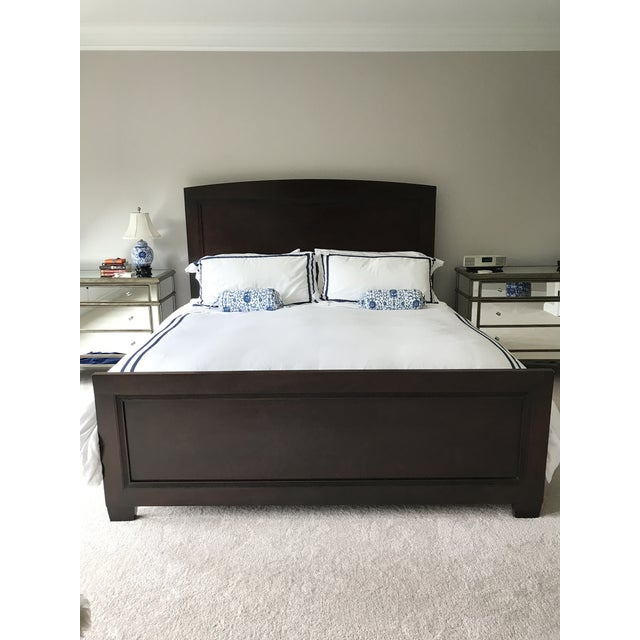 Gorgeous dark wood King Bed frame by Nautica for Lexington. Headboard and footboard have a subtle harlequin inlaid pattern...