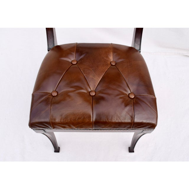 Chestnut Henredon Hanover Tufted Leather Dining Chairs, Pair For Sale - Image 8 of 13