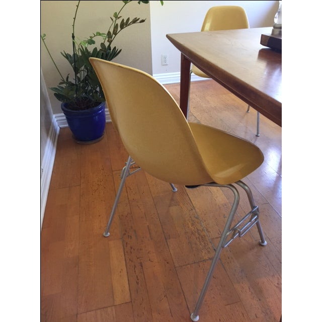 Vintage Yellow Eames Shell Chairs - Set of 4 - Image 5 of 10