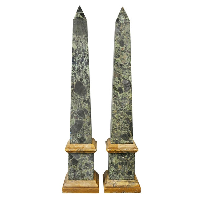 Large Italian Grand Tour Verde Antico and Siena Marble Obelisks - a Pair For Sale In Boston - Image 6 of 8