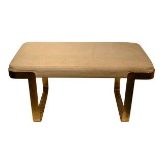 Upholstered Brass Bench Attributed to Karl Springer For Sale