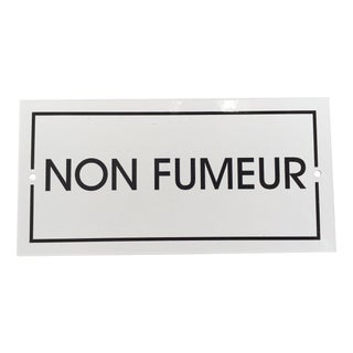 French 'Non-Fumeur' White Enamel Plaque