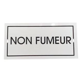 French 'Non-Fumeur' White Enamel Plaque For Sale