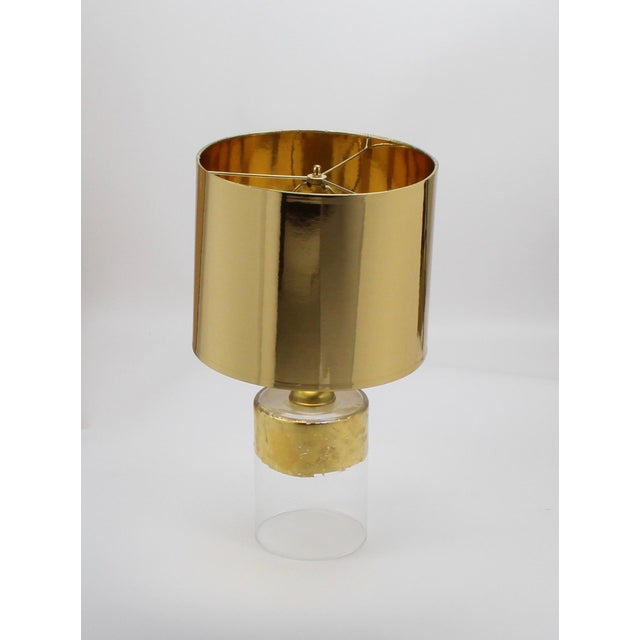 Modern Small High Gloss Gold Drum Lampshade For Sale - Image 3 of 9