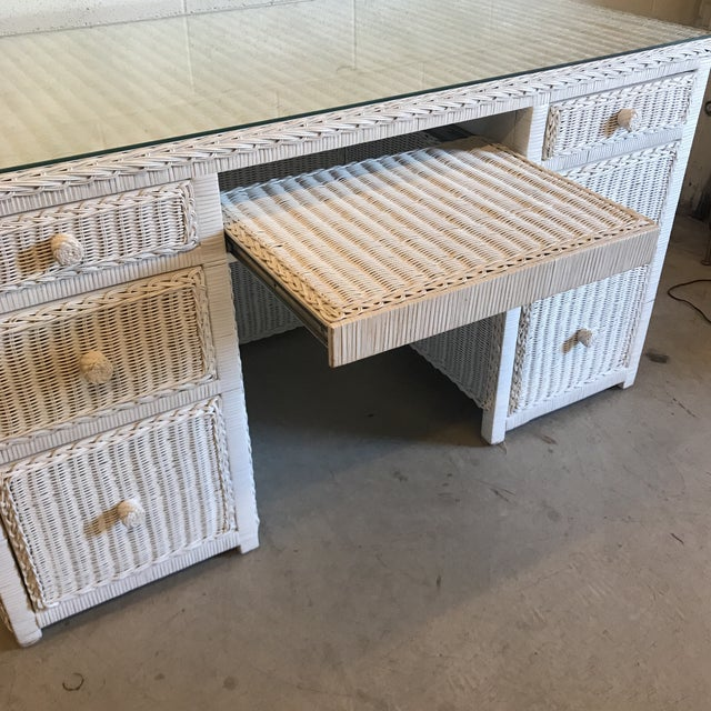 Vintage White Wicker Writing Desk For Sale - Image 4 of 10