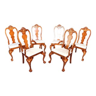 Vintage Claw Feet Carved Dining Room Chairs - Set of 6 For Sale