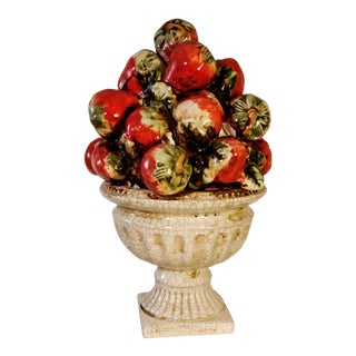 Vintage Stawberry Tree Topiary Cone Centerpiece Fruit Italian For Sale