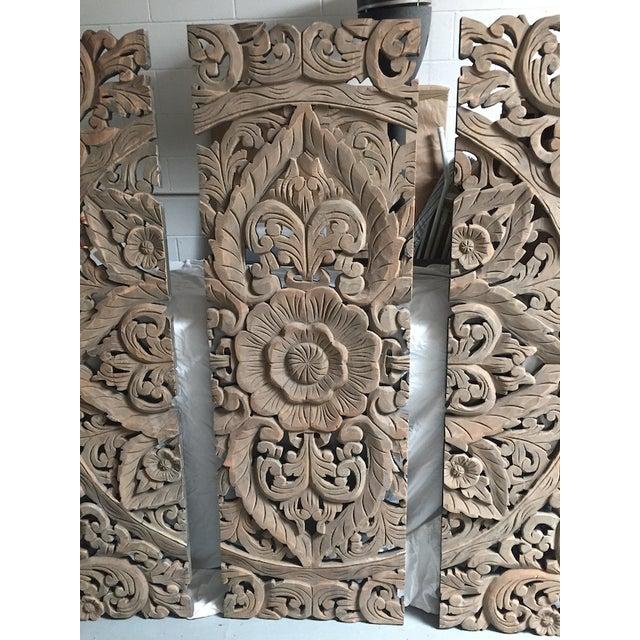 Floral Carved Wood Panels - Set of 3 - Image 4 of 8