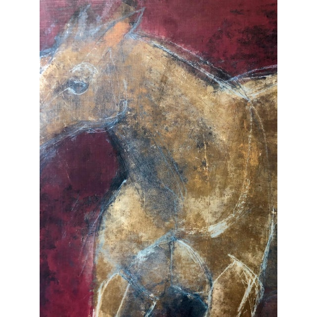 Figurative Reverse-Color Framed Hearting Horses Prints - a Pair For Sale - Image 9 of 12
