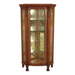 19th Century Traditional Oak Curved Glass Corner Cabinet With Lion Head For Sale