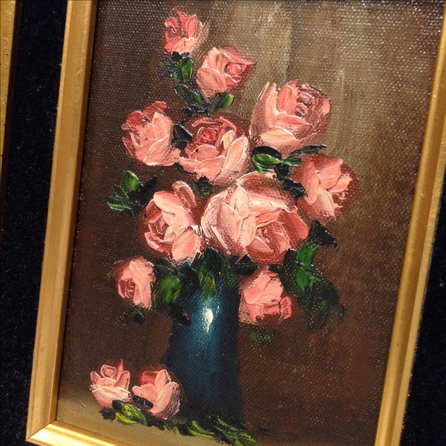"""""""Pink Roses"""" Vintage Still Life Oil Painting - Image 4 of 7"""