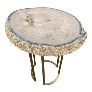 Agate Quartz Side Table For Sale
