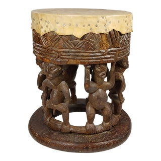 Vintage African Drum Style Carved Fertility Figures Side Table For Sale