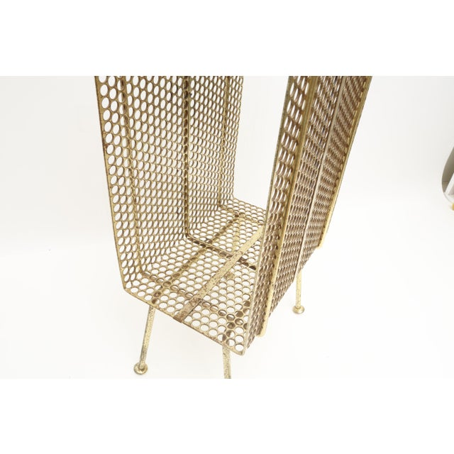 1960s Mid Century Modern Gold Brass Magazine Stand Telephone Side Table For Sale - Image 5 of 6