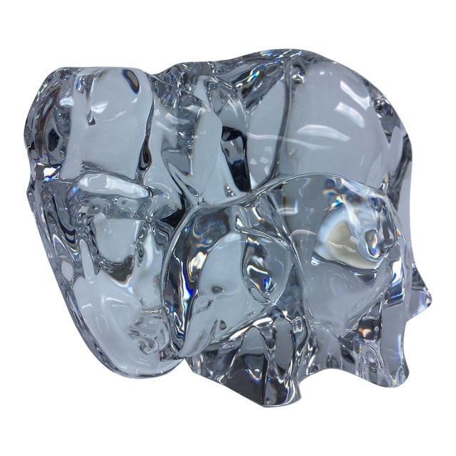 Baccarat Crystal Elephant With Baby For Sale