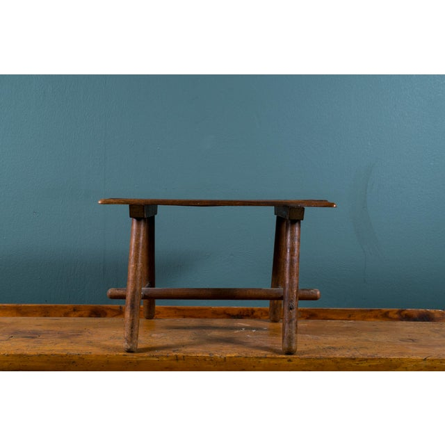 Petite Hand-Made Rustic Wood Footstool from Belgium, circa 1920 For Sale - Image 4 of 5
