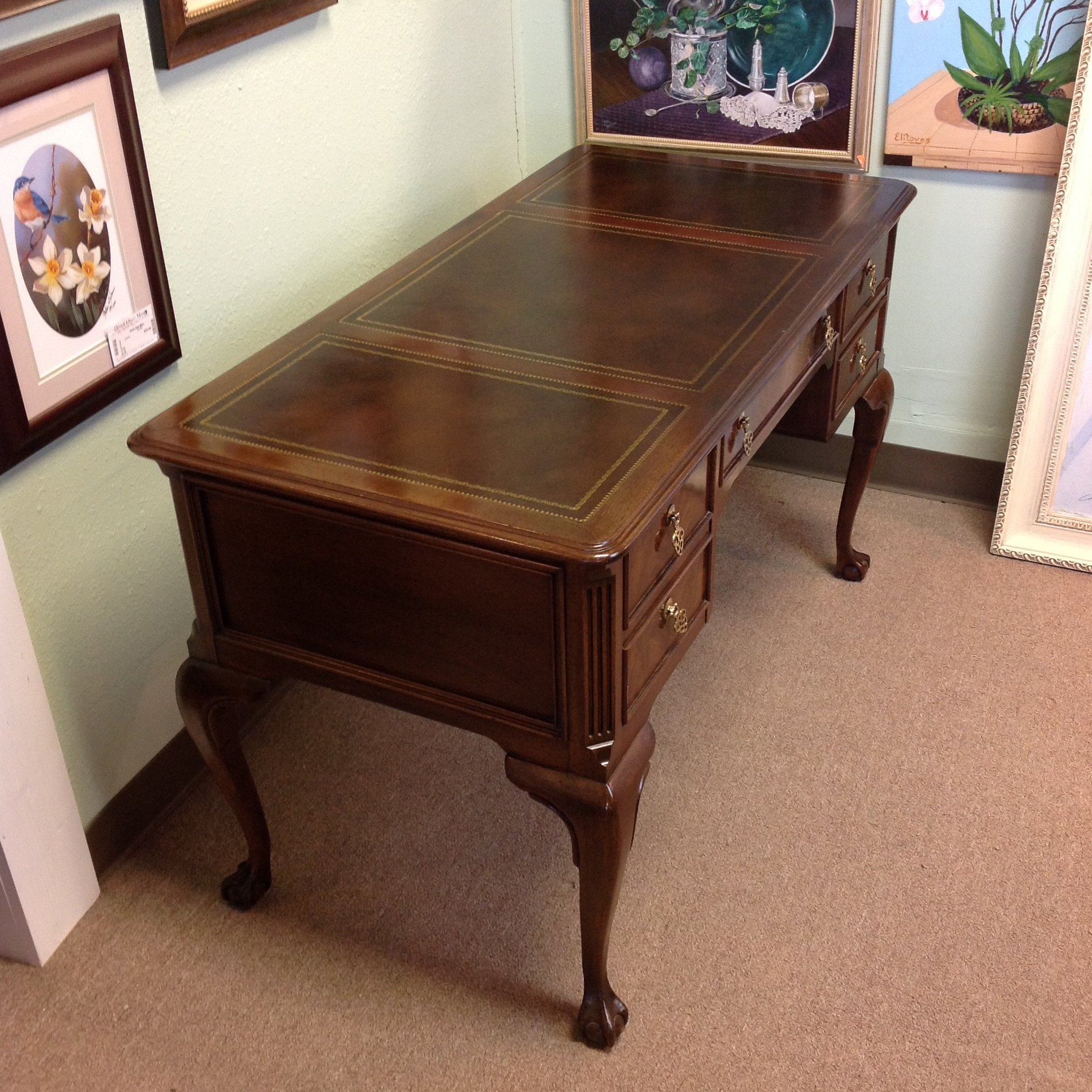 Sligh Furniture Leather Top Wooden Desk Chairish Rh Com Antique Vintage From The 1920