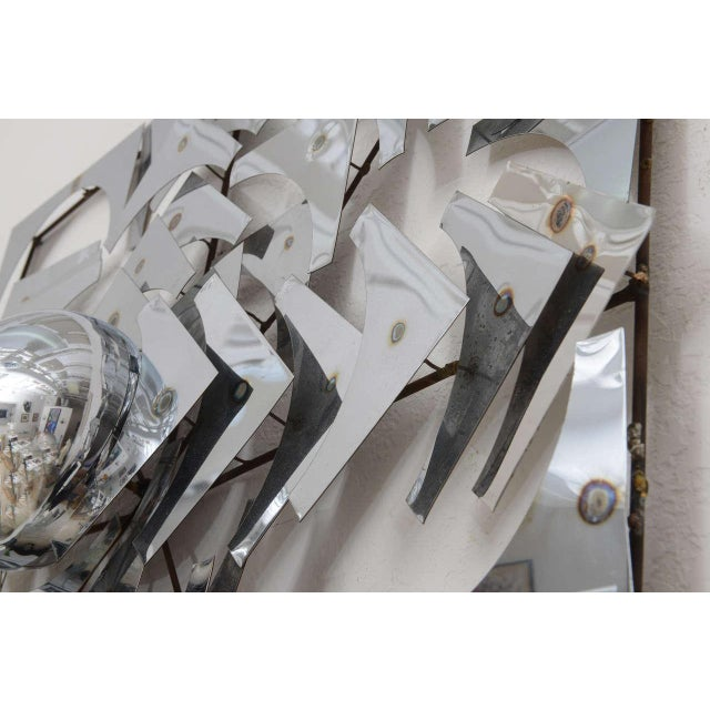 Metal 1970s, Mid-Century Modern, Pop Art, Polished Chrome, Square, 3-D Wall Sculpture For Sale - Image 7 of 11