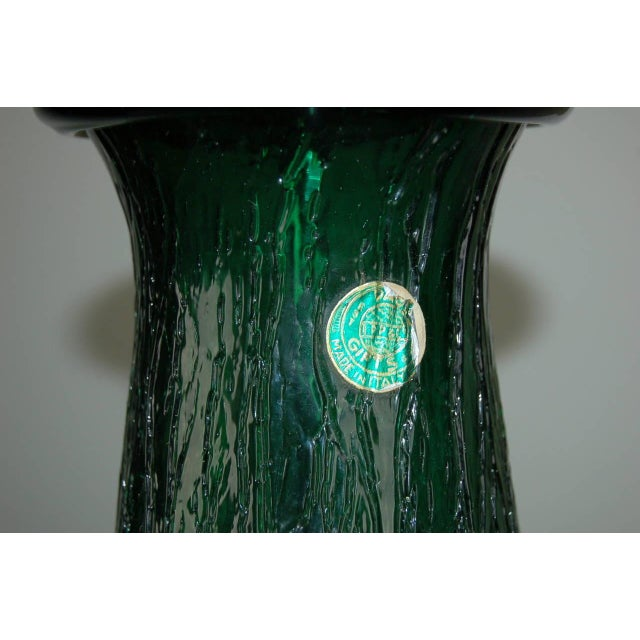 Gold Vintage Murano Glass Table Lamps Green For Sale - Image 8 of 9