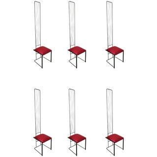 Set of Six Post Modern High Back Dining Chairs For Sale