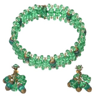 Miriam Haskell Beaded Green Glass Choker & Matching Dangle Earrings Set Signed For Sale