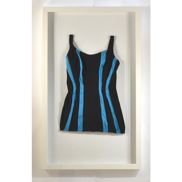 Framed Vintage Black & Blue Striped Swim Suit - Image 3 of 4